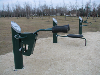 Stationary exercise equipment at LA Barkman